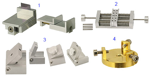 examples of EM-Tec sample stubs and sample holders for Hitachi table top SEMs