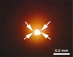 Optical image of the four regions of the calibration structures