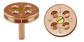EM-Tec TG4C TEM grid holder securely holds up to 4 TEM grids, Ø18x3.2mm, copper, pin