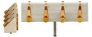 EM-Tec S-Clip sample holder with 4xS-Clips at 45° and 4xS-Clip at 90°, 50x10x14mm, pin