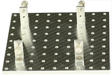 EM-Tec Versa-Plate H81 SEM sample holder 106x106mm with 81 M4 threaded holes and 4 x S25 brackets, pin