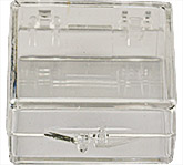 Micro-Tec C11 clear styrene plastic hinged storage boxes, 32x32x12.5mm