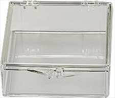 Micro-Tec C22 clear styrene plastic hinged storage boxes, 51x51x12.5mm