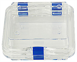 Micro-Tec M44 clear plastic membrane box, hinged,  100x100x40mm
