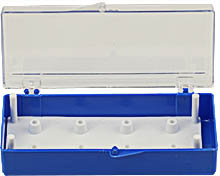 EM-Tec SB8 small size clear styrene box for 8 standard 12.7mm SEM pin stubs