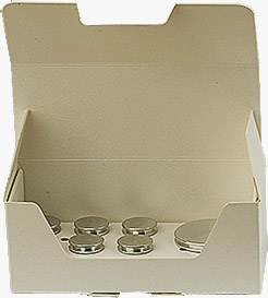 EM-Tec SB10 Stub-Storr low cost white cardboard storage box for 10 standard 12.7mm SEM pin stubs
