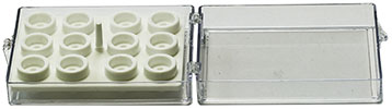 EM-Tec SC12 clear styrene storage box for 12x Ø9.5mm JEOL/Ø12.2mm JEOL or 12 pin stubs