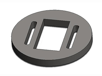 Ti sample holder disc, Ø3x0.3mm, 0.6x1.8mm hole