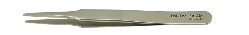 EM-Tec 2A.AM high precision tweezers, style 2A, flat accurate round tips, anti-magnetic stainless steel