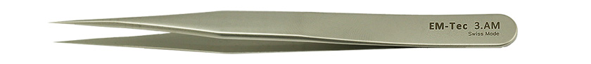 EM-Tec 3.AM high precision tweezers, style 3,  very sharp fine tips, anti-magnetic stainless steel