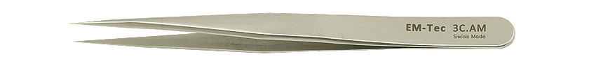EM-Tec 3C.AM high precision tweezers, style 3C, short, very sharp fine tips, anti-magnetic stainless steel