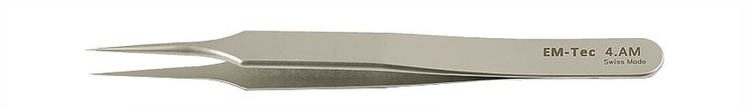 EM-Tec 4.AM high precision tweezers, style 4, very sharp fine tips, anti-magnetic stainless steel