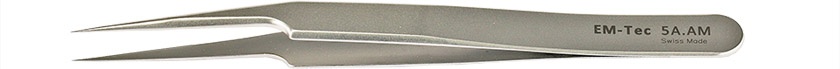 EM-Tec 5A.AM high precision tweezers, style 5, very fine off-set tips, anti-magnetic stainless steel