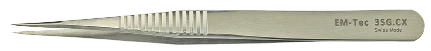 EM-Tec 3SG.CX ultra-precision biology tweezers, style 3, serrated grips, strong very fine tips, fully non-magnetic