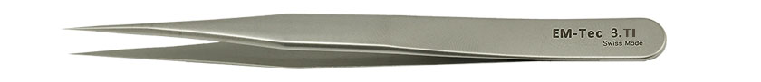 EM-Tec 3.TI high precision tweezers, style 3,  very sharp fine tips, titanium