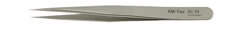 EM-Tec 3C.TI high precision tweezers, style 3C, short, very sharp fine tips, titanium