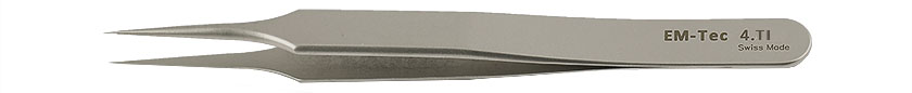 EM-Tec 4.TI high precision tweezers, style 4, very fine sharp tips, titanium