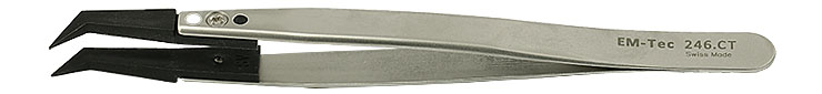 EM-Tec 246.CT ESD safe carbon fiber replaceable tip tweezers, pointed, bent tips