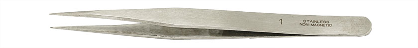 Value-Tec 1.NM general purpose tweezers, style 1, strong fine pointed tips, non-magnetic stainless steel