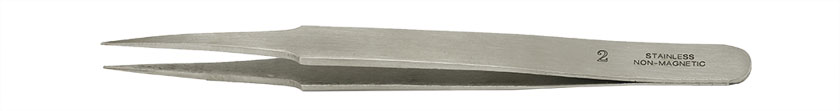 Value-Tec 2.NM general purpose tweezers, style 2, strong pointed tips, non-magnetic stainless steel