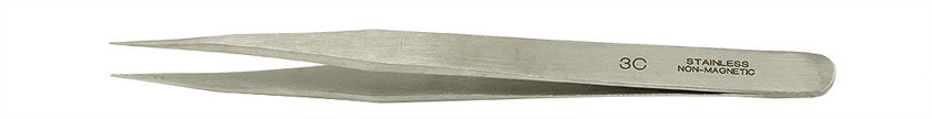 Value-Tec 3C.NM general purpose tweezers, style 3C, shorter, fine strong pointed tips, non-magnetic stainless steel