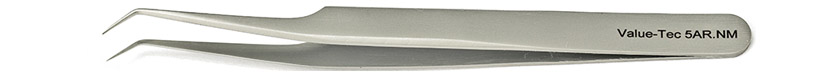Value-Tec 5AR.NM general purpose tweezers, style 5AR, bent, fine pointed tips, non-magnetic stainless steel