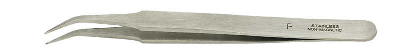 Value-Tec F.NM general purpose tweezers, style F, bent fine pointed tips, non-magnetic stainless steel