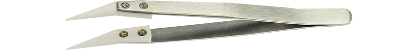 Value-Tec 1B.ZTA ceramic tips tweezers, sharp, angled tips, 126mm