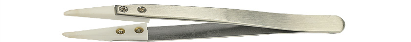 Value-Tec 2AS.ZTA ceramic tips tweezers, strong, flat round tips, 128mm