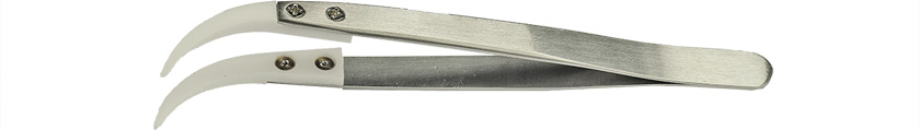 Value-Tec 7.ZTA ceramic tips tweezers, curved, strong tips, 128mm