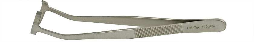 EM-Tec 250.AM SEM stub gripper tweezers for Ø25mm cylinder stubs, anti-magnetic stainless steel
