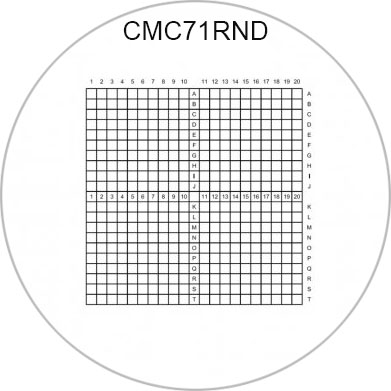 CMC71RND correlative coverslips 10x10mm with 0.5mm divisions, Ø 18mm
