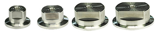 EM-Tec KF vacuum flange adapters to 1/8inch NPT female thread, stainless steel