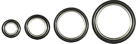 EM-Tec KF vacuum flange seals with 304 stainless steel centering ring with Viton O-ring