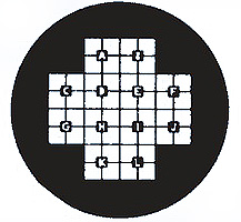 EM-Tec finder TEM support grids, 100 mesh-F1, centre cross line of four squares identified with letters A-L